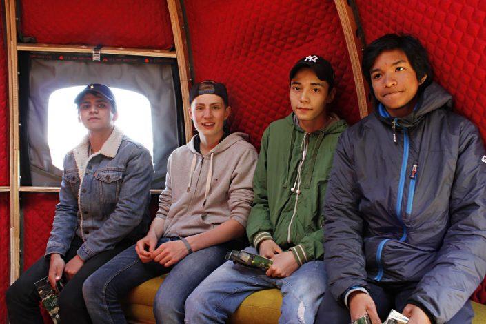 Kids enjoying the life inside the Tree Tent