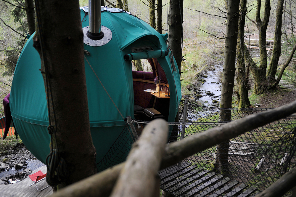 Looking out across a green Tree Tent to stream
